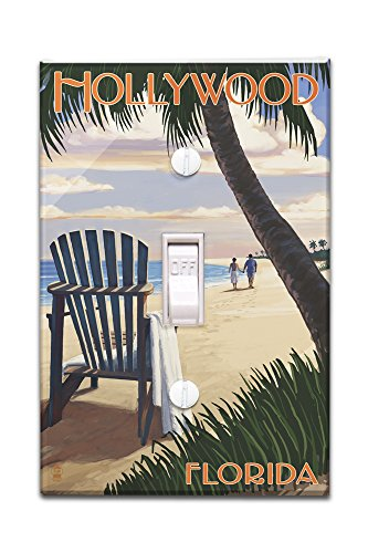 Hollywood, Florida - Adirondack Chair on the Beach (Light Switchplate Cover)