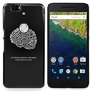 "Qstar Arte & diseño plástico duro Fundas Cover Cubre Hard Case Cover para Huawei Google Nexus 6P (Cerebro ideas inspiradoras Genius Cita"")"