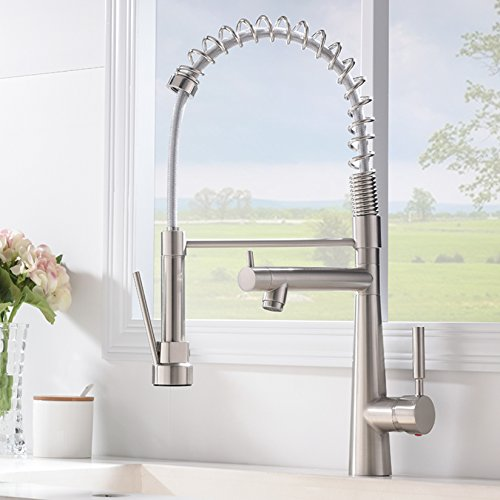 VAPSINT Best Modern High Arch Commercial Lead-Free Stainless Steel Brushed Nickel Kitchen Faucet,Single Handle Kitchen Sink Faucet(With Two (Single Faucet Handle)