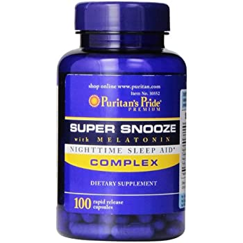 Puritans Pride Super Snooze with Melatonin Rapid Release Capsules,100 Count