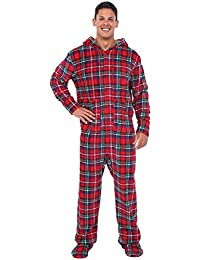 Mens Fleece Plaid Print Onesie, Hooded Footed Jumpsuit...