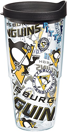 Tervis 1272272 NHL Pittsburgh Penguins All Over Tumbler with Wrap and Black Lid 24oz, Clear