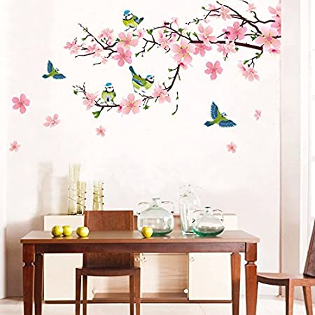 Fadfay home textileromantic pink cherry blossom wall stickerscute birds room wall decor