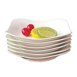 JH& 6 Piezas DE 7,5 Pulgadas Plato Hondo Restaurante Hotel Familiar Porcelana Vajilla #++