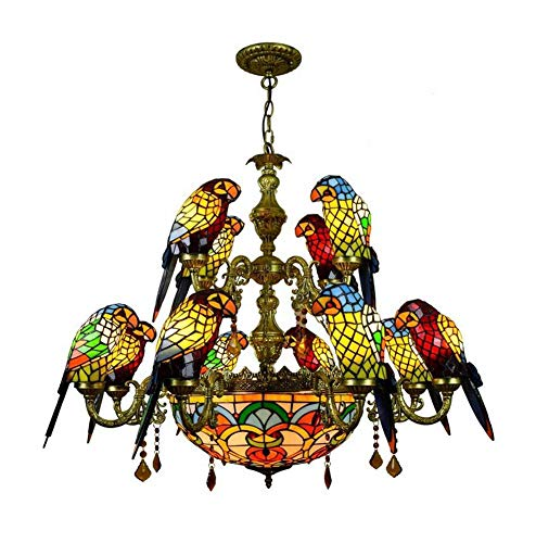 (Tiffany Style Parrot Chandelier European Creative Retro Stained Glass Pendant Lamp Living Room Bedroom Decorative Ceiling Lights E27)