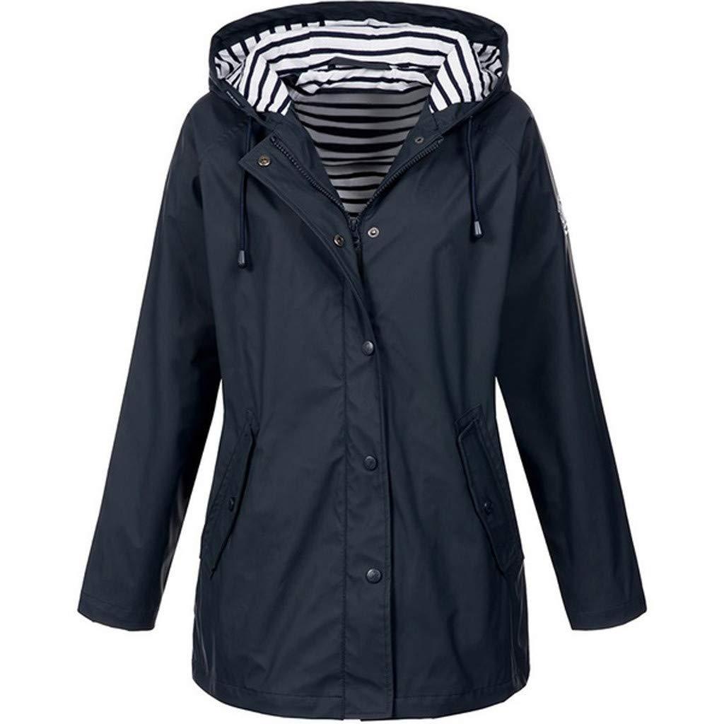 Eoeth Women Solid Rain Jacket Outdoor Plus Size Waterproof Hooded Raincoat Outwear Coat Hooded Drawstring Sweatshirt Black by Eoeth