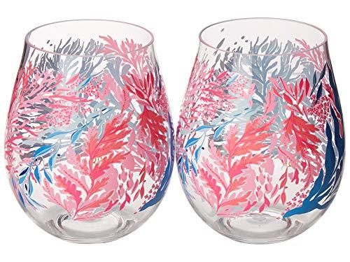 Acrylic Wine Glasses Set - Lilly Pulitzer Women's Acrylic Wine Glass Set Kaleidoscope Coral One Size