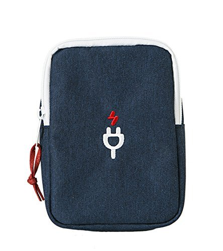 iSuperb Electronics Accessories Storage Pouch Bag Multifunction Makeup Smartphone Charger Headset Data Cable for Travel with Mesh Handbag (Dark Blue) Electronics Pouch