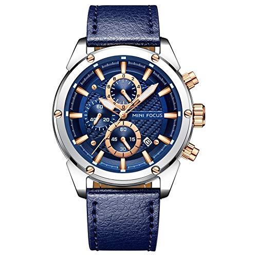 MINI FOCUS Fashion Watch Men's Sport Waterproof Watch with Leather Strap Calendar Date Watches Business Quartz Wrist Watch for Men