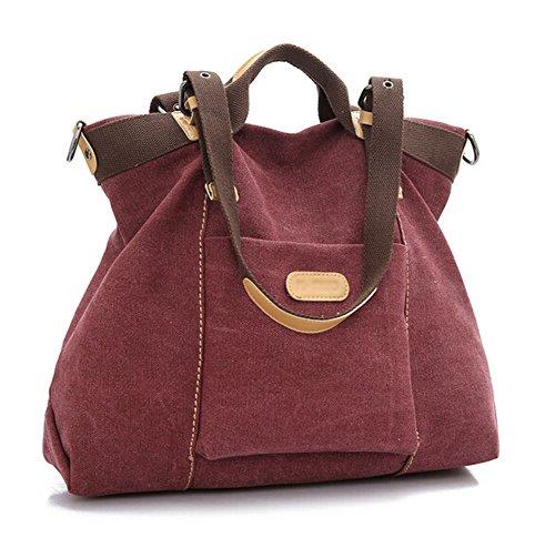 (Ecokaki(TM) Casual Canvas Ladies Tote Bag Large Travel Purse Hobo Handbag Shoulder Bag Shopping Bag,)