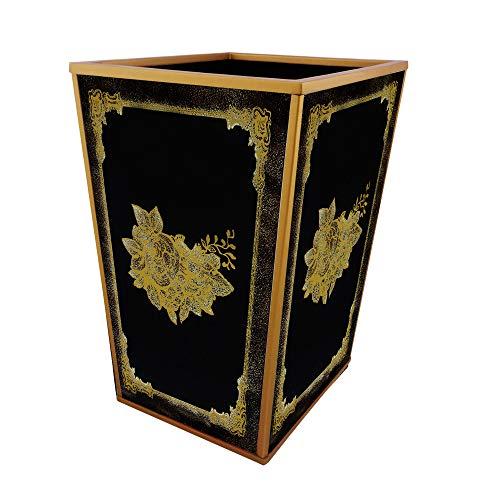 Ducoteduparcoffice Trash Can Black And Gold Classical Flower Design Handmade Decorative Waste Basket Dailymail