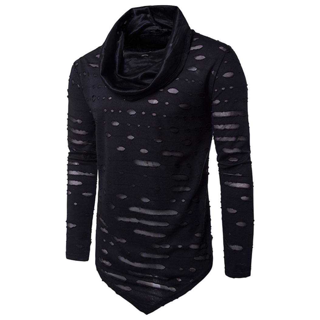 JiaMeng Maglie a Manica Lunga da Uomo - Maglietta a Maniche Lunghe a brandelli per Uomo Hole Camicia Colore Solido di Modo Maschile Shirt Manica Lunga Casuale