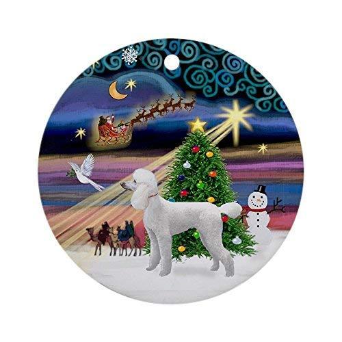 LilithCroft99 Xmas Magic &Amp; White Poodle Novelty Round Christmas Ornaments Keepsake Christmas Tree Decorations Idea