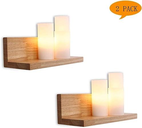 XIEJUN Aplique de Pared de Madera LED Moderna Simple con Estante ...