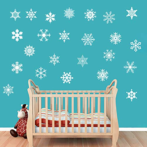 decalmile White Snowflakes Window Cling Decals Wall Stickers Shop Window Decor Winter Wonderland Decorations Ornaments Party Supplies (1set=12X12cmx24pcs)]()