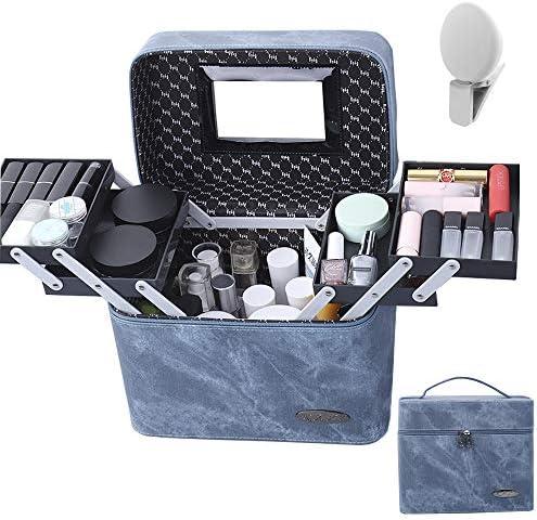 Maleta de maquillaje profesional con espejo, estuche cosmético con bandejas plegables, organizador de maquillaje portátil impermeable para uso en el hogar/viajes (regalo: mini luz de relleno): Amazon.es: Equipaje