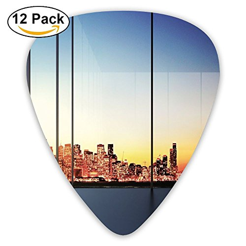 Oswald Carnegie Sunset In New York City Usa Cityscape With Bridge Skyscrapers Image Funny Humorous Slogan Pictogram Style Guitar Picks 12/Pack Set, Acoustic Guitar