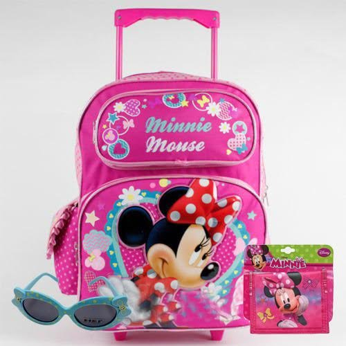 Disney ^Free S&H Minnie Mouse Large Rolling Backpack and Minnie Wallet and Sunglasses Set