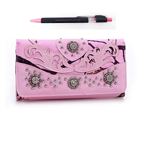 Realtree Camo Rhinestone Concho Western Trifold Wallet Pen Set (PINK)