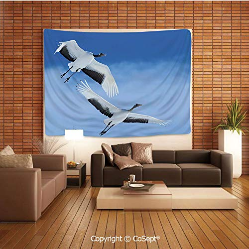 PUTIEN Natural Luxury Tapestry,Two Red Crowned Crane with Open Wings Flying in Clear Sky Japanese Animal Duo,Tapestry Art Print Tapestry for RoomBlue White Black]()