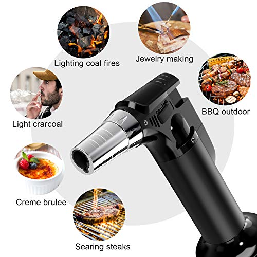 2 Pack Butane Torch, Culinary Blow Torch Lighter, Refillable Kitchen Cooking Torch with Safety Lock & Adjustable Flame for BBQ, Creme Brulee, Baking, Crafts (Butane Gas not Included) (Black/Sliver)