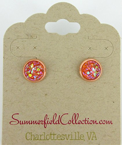 Rose Gold-tone Peach Coral AB Faux Druzy Stone Stud Earrings 8mm (Collection Coral)