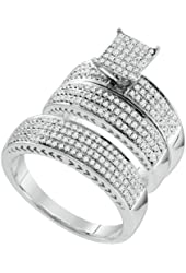 10K White Gold Diamond Mens and Ladies Couple His & Hers Trio 3 Three Ring Bridal Matching Engagement Wedding Ring Band Set - Square Princess Shape Center Setting w/ Micro Pave Set Round Diamonds - (.97 cttw) - Please use drop down menu to select your desired ring sizes