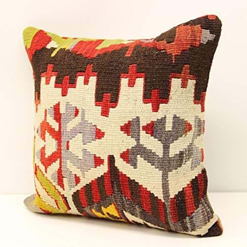 Turkish Kilim Pillow Home Decor Decorative Pillow Home: Amazon.com: Modern Kilim Pillow Cover 14x14 Inch (35x35 Cm