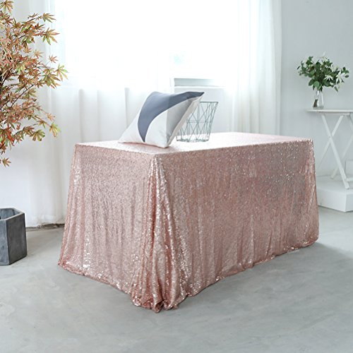GFCC 60x120 inch Rose Gold Sequin Tablecloth Christmas Sarkly Table Cover Thick Material Home Decor Birthday Party Wedding Party Supplies