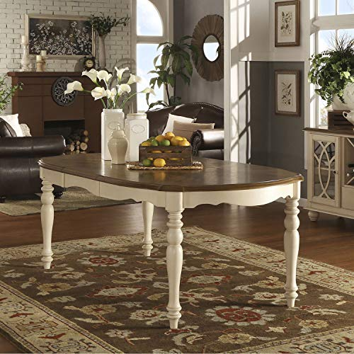Inspire Q Shayne Country Antique Two-Tone White Extending Dining Table by Classic