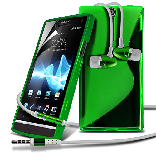 Sony Xperia S LT26i Green S Line Wave Gel Case Skin Cover With LCD Screen Protector Guard, Polishing Cloth & Hands Free Earphone with Built in Microphone Mic & On-Off Button by Fone-Case