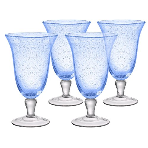 Artland Iris Footed Ice Tea Glasses, Light Blue, Set of 4