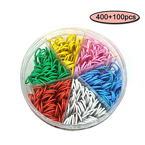 (Color Paperclip Vinyl Coating, 500 Paper Clips, Medium and Small Size (1.1inch, 1.3inch), Used in Office School Paper Clips and Personal Items)
