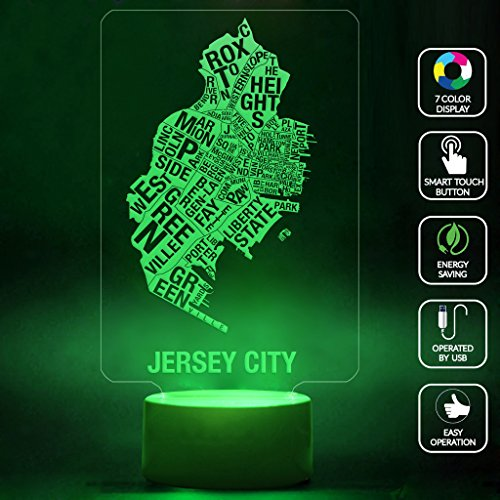 CMLART Jersey City Map Leter Art 3d Lamp Night 7 Color Change Best Gift Night Light LED Furnish Desk Table Lighting Home Decoration Toys Iowa Led Desk Lamp