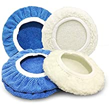 "8pcs Car Polisher Pad Bonnet Polishing Bonnet Buffing Pad Cover for Car Polisher (Blue & White, 9""-10"")"
