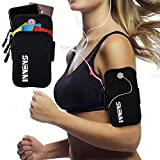 Innens Arm Bag, Universal Sports Fitness Armband with Earphone Jack Designed for iPhone X 8 7 6 6S Plus, Galaxy S10 S9 Plus S10E S9 S8 S7 Edge S6 Edge - Running, Gym, Outdoor, Workout (A-Black)