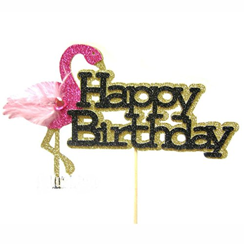 Astra-Gourmet-1pc-Flamingo-Happy-Birthday-Glitter-Paper-Cake-Topper-7×45
