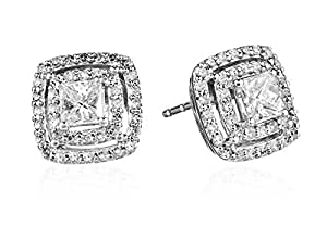 10k White Gold and Diamond Halo Stud Earrings (1 cttw, H-I Color, I1-I2 Clarity)