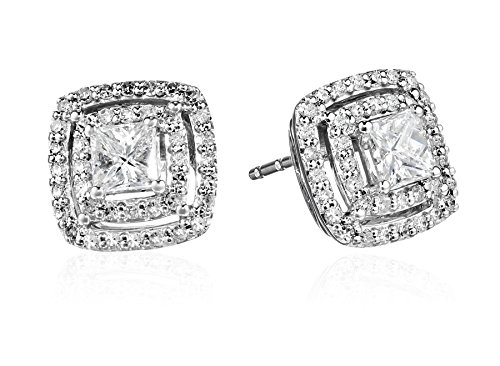 10k White Gold and Diamond Halo Stud Earrings (1 cttw, H-I Color, I1-I2 (10k I1 Earrings)