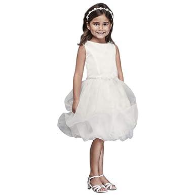 6e350f07e5 Amazon.com  David s Bridal Organza Bubble Skirt Flower Girl Communion Dress  Style CR1391  Clothing