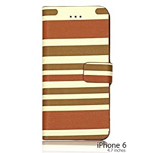 OnlineBestDigital - Striped Style PU Leather Wallet Flip Stand Case for Apple iPhone 6 (4.7 inch)Smartphone - Brown