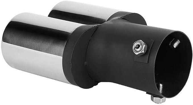 Tubo Universal de Acero Inoxidable Doble Tubo de Escape Modificado Punta del Silenciador Trasero Garganta de Cola Tubo de Escape