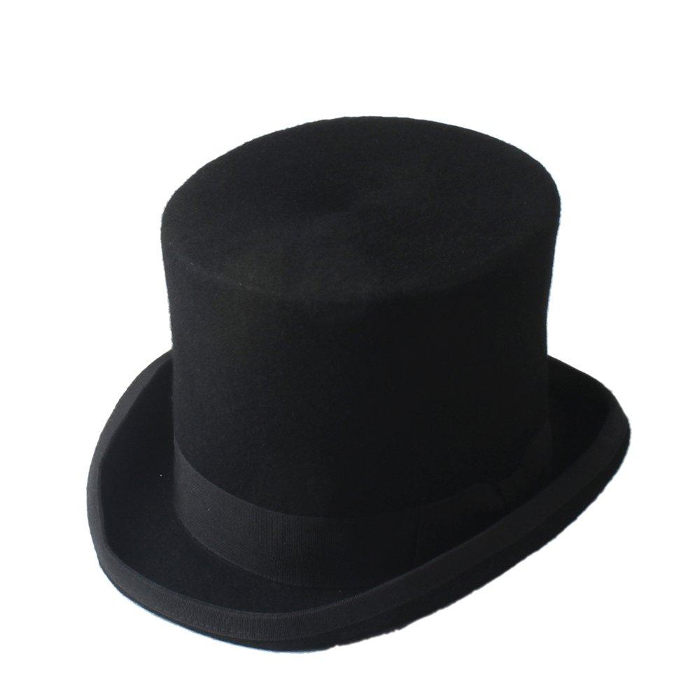 MUMUWU Black Steampunk Mad Hatter Top Hat Victorian Vintage Traditional Wool Fedoras Hat Wide Brim Hat (Color : Navy Blue, Size : 55cm)