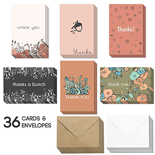 36 Blank Thank You Cards - Bulk 4x6 Cute Flower Cards with Envelopes for Women