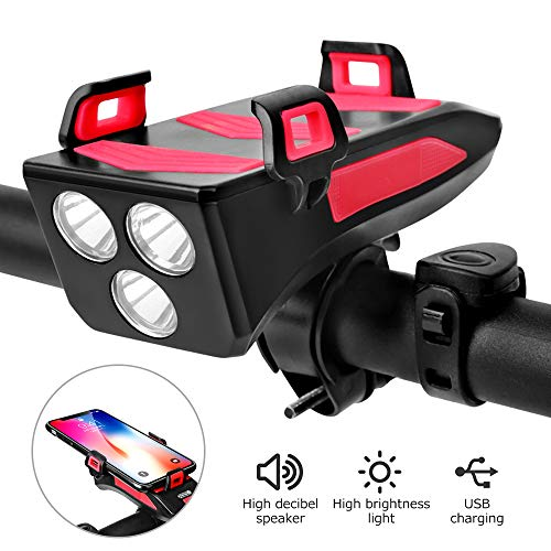 Bicycle Cycling Headlights 4 in 1, USB Rechargeable Bicycle Lamp with Bike Horn & Mobile Phone Bracket & Riding…