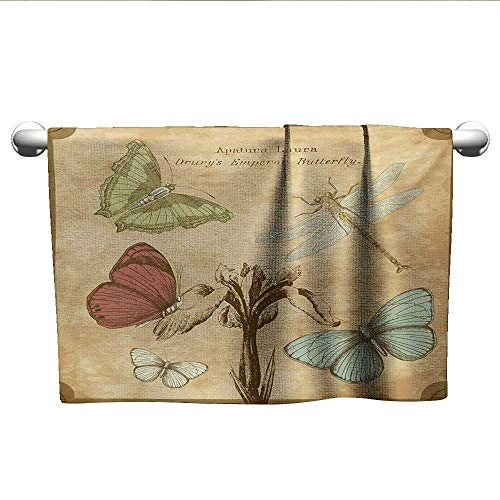 Dragonfly Petal - alisoso Dragonfly,Decorative Bathroom Towels Retro Style Butterflies with Flower Petals and Grunge Effects Artwork Gym Towels for Women Sand Brown Caramel W 35