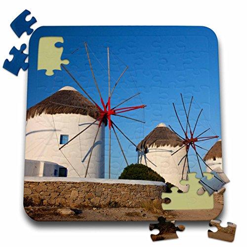 Danita Delimont - Windmills - Greece, Mykonos. Windmills along the water - 10x10 Inch Puzzle (pzl_277436_2) (Water Mykonos)