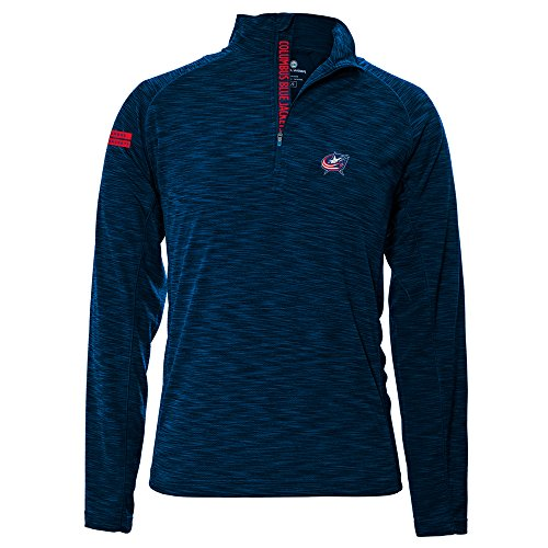 NHL Columbus Blue Jackets Men's Mobility Insignia Strong Style Quarter Zip Mid-Layer Apparel, Large, - The Of Jacket Quarter Blue