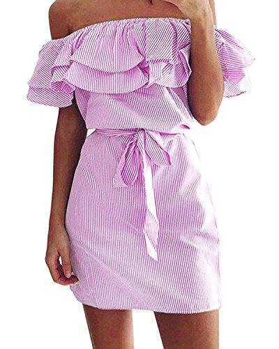 Tempt Me Women Striped Off The Shoulder Ruffles Strapless Beach Shirt Short Mini Dress Pink S