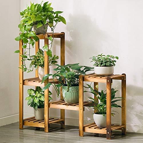 XJZxX-Plant Flower Stand Wooden Plant Bonsai Stand Flower Pot Shelf Multilayer Solid Wood Storage Rack Outdoor Indoor…